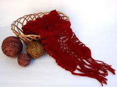 Red Crocheted Scarf.   #Crochet#HairpinLace#Redscarf