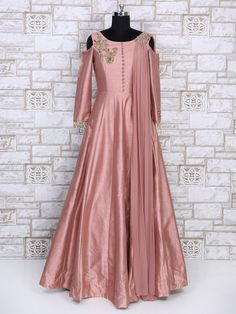 Shop Designer pink color silk gown online from India. Pakistani Dresses Casual, Indian Gowns Dresses, Indian Fashion Dresses, Pakistani Dress Design, Indian Designer Outfits, Designer Gowns, Designer Wear, Fancy Dress Design, Stylish Dress Designs