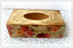 Wooden decoupage tissue box vintage roses by CarmenHandCrafts