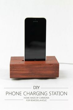 Phone Charging Station Tutorial - This will only take about 15 minutes of hands-on time and it only costs a few bucks since you can use scraps! Great gift idea, too.