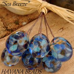 NEW  SEA BREEZE  Head Pins  Set of 6 Handmade by HavanaBeads.etsy.com