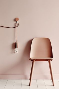Pale Pink, light bulb and chair, wall paint, wall color, pastel pink