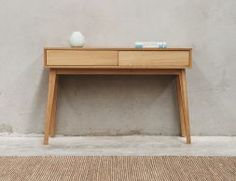 Copenhagen Solid European Oak Hall Entrance Console Table By Bent Design Studio For Huset Scandinavian