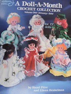 A Doll A Month Crochet Collection for Dolls Crochet Needlework American School of Needlework Book 1081 Crochet Doll Clothes, Doll Clothes Patterns, Crochet Dolls, Doll Patterns, Crochet Patterns, Craft Patterns, Canvas Patterns, Pattern Books, Girl Dolls