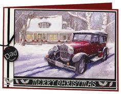Craft Creations die cut decoupage - DCD631 - Snowy Car Scene