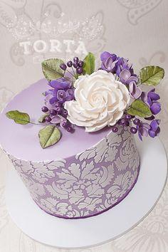Purple Damask Birthday Cake