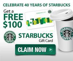 Get Free $100 Starbucks Gift Card