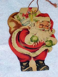Rare Vintage 1930's Heavy Paper Die Cut Christmas Ornament, Santa, Double Sided