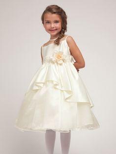 Ivory Satin & Organza Layered Dress w/Satin Bodice