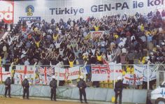Leeds United fans, at Galatasaray in 2000, turn their back to the match as a protest to the Turkish football association and the Turkish law enforcement after the murder of two Leeds United fans before the game.