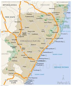 Regional map in KwaZulu Natal, South Africa. Hybrid physical / polital map indicating cities, major towns, national roads and game reserves . Kwazulu Natal, Africa Travel, Regional, School Stuff, South Africa, Maps, Landscapes, Places To Visit, Pdf