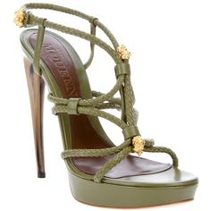 ALEXANDER MCQUEEN Leather Knotted Heel (37.425 RUB) ❤ liked on Polyvore featuring shoes, sandals, heels, green, high heels, green high heel sandals, green sandals, leather platform sandals, heeled sandals and green leather sandals