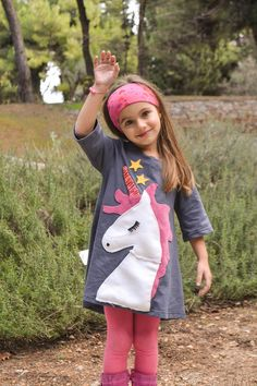 Süßes Kleid mit Einhorn Applikation, Kleid zur Einschulung / comfy dress for kids with unicorn made by HappyButton via DaWanda.com