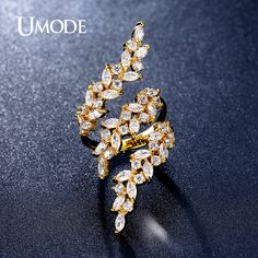 UMODE Fashion 0.1ct Marquise Cut Adjustable created Diamond Rings Gold Plated Top Quality Jewelry for Women Bague Aneis UR0318A