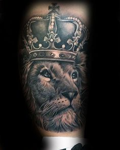 Manly Lion With Crown Lower Leg Guys Tattoos