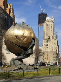 Currently in Battery Park, this sphere once sat in the plaza between the World Trade Centers.