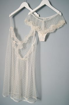Plumetis and lace lingerie set. €195.00, via Etsy.