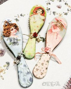 Beautyful decoupage hair brushes. Victorian portraits of young girls perfectly represent shabby - chic.