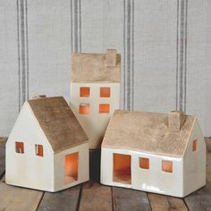 HomArt Ceramic Cottages - Set of 3 Assorted - Lrg-Antique White - AREOhome Home Candles, Tea Light Candles, Tea Lights, Clay Houses, Ceramic Houses, Miniature Houses, Putz Houses, Candle Holder Set, Tealight Candle Holders