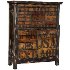 French Words Storage Chest ($2,595) ❤ liked on Polyvore featuring home, furniture, storage & shelves, dressers, cabinets, dresser, muebles, shelves, black shelves and drawer storage cabinet