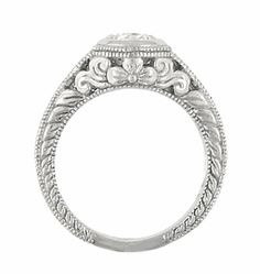 Art Deco Filigree Flowers and Scrolls Engraved Diamond Engagement Ring in 14 Karat White Gold, Vintage Style Low Profile Ring - Item R990W25 http://www.antiquejewelrymall.com/r990w25.html This low profile vintage style diamond engagement ring is inspired by the beauty of nature with a lovely floral engraved detail at the sides.