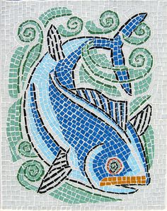 """Retro Whale Glass Mosaic, 2006 Vitreous glass tile, steel frame. 25"""" H x 20"""" W x .75"""" D Glass mosaic set with mortar on Hardibacker substrate in a steel frame."""