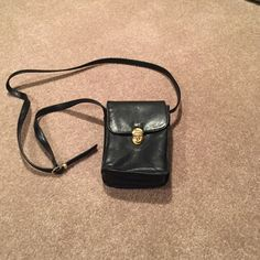 ***2 for $10***  Black crossbody bag Black crossbody bag with gold clasp. Multiple pockets. Gently used Bags Crossbody Bags