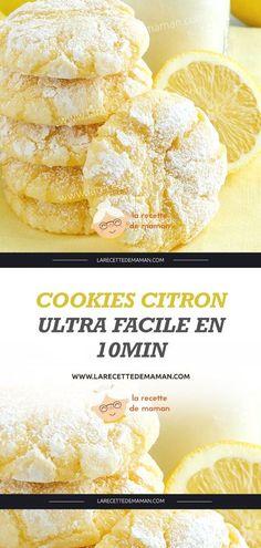 Baking lemon cookies – easy and fast // Cookies citron ultra facile en – La Recette de maman bake Lemon Desserts, No Bake Desserts, Easy Desserts, Dessert Recipes, French Desserts, Mother Recipe, Recipe For Mom, Mom's Recipe, Crust Recipe