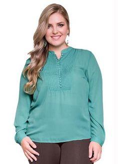 Blusa Tecido Plano Lunender Plus Verde - Compre em até sem juros na loja  Lunender Mais Mulher 0e030d8a307ab