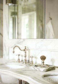 Bathroom Details...Marble double vanity, polished nickel