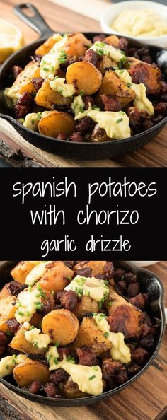 Spanish potatoes with chorizo and garlic sauce. Chorizo potatoes or patatas braves con chorizo is a traditional tapas dish kicked up big time. The chorizo is Spanish. This is not a good place to substitute Mexican style chorizo. Tapas Recipes, Mexican Food Recipes, Cooking Recipes, Healthy Recipes, Tapas Ideas, Sausage Recipes, Potato Recipes, Spanish Chorizo Recipes, Tasty