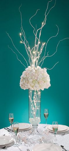 Tiffany Blue Wedding Decorations if-i-had-no-budget-i-would-have-a-david-tutera-wed Lighted Centerpieces, White Centerpiece, Centerpiece Ideas, Centerpiece Flowers, Branch Wedding Centerpieces, Tiffany Blue Centerpieces, Quince Centerpieces, Wedding Table, Our Wedding