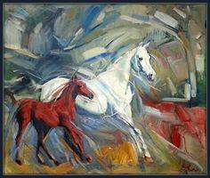 Horses oilcolor  60 x 50 cm