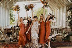 Boho, Festival Wedding at Wilderness Weddings Burnt Orange Bridesmaid Dresses, Burnt Orange Weddings, Summer Bridesmaid Dresses, Bridesmaids, Wedding Dresses, Festival Wedding, Boho Festival, Bridal Gown Styles, Double Wedding