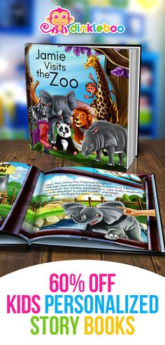 """Personalized Story Book: """"Visits the Zoo"""" A story about your son or daughter going to the zoo and the different animals they visit. Kids Story Books, Books For Boys, Christmas Gifts For Kids, Gifts For Teens, Personalized Books For Kids, Toddler Activities, Projects For Kids, Baby Gifts, Daughter"""