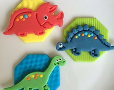 Fondant Dinosaur Cupcake toppers