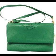"""Tory Burch Messenger Bag Kipp fold over messenger bag in Virdian Green. Adjustable detachable shoulder strap 12 1/2""""-24 1/2"""" drop. Magnetic flap closure. One inside zip pocket; two inside open canvas pockets. Canvas lining. 12""""W x 7 1/2""""H x 1 1/2""""D. Briefly carried. Like new condition. Tory Burch Bags Crossbody Bags"""
