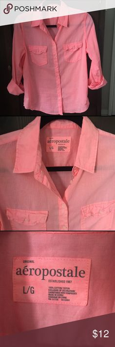 Cute pink semi sheer cotton top! Super cute button down. Great shape. Sized as Large but I'm listing as medium which fits better. No rips or stains. Love this shirt! Aeropostale Tops Button Down Shirts