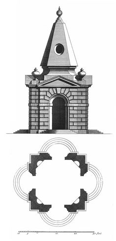 Plate LXXVI. Another Design for two pavillions at Stow; both built of Stone in the same form without, but within is an Octagon Room of 24 feet, the other is divided into Rooms, and made a Dwelling for a Gentleman. (this is the plate description in Gibbs book published in 1728.)