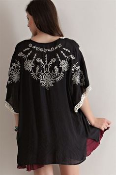 Embroidery Open Cardigan - Black