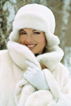 white mink coat and hat