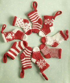 Little flat-knit Fair Isle (etc) Christmas stockings