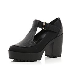Black chunky sole buckle shoes £35.00