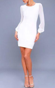 Poetic Love White Mesh Long Sleeve Bodycon Dress #bodycondresslongsleeve