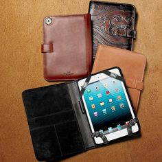 """For centuries, ranchers have depended on the durability, beauty and protective properties of fine leather, just as you see in this handsome Mini iPad Case. The interior is soft suede, with a pen loop, 3 interior pockets and a camera lens port. Made in USA. 8""""H x 6""""W."""