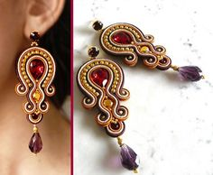 Soutache Earrings Handmade Earrings Hand Embroidered by LaviBijoux Soutache Necklace, Beaded Earrings, Earrings Handmade, Handmade Jewelry, Tassel Jewelry, Beaded Jewelry, Jewelry Accessories, Jewelry Design, Women Jewelry