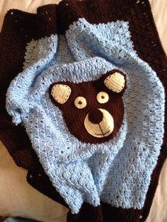 Teddy Bear crochet baby blanket, custom blanket by nerimae65 on Etsy