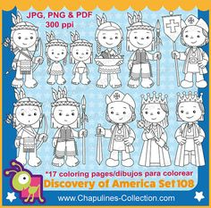 Discovery of America Clipart, black and white, and coloring pages by ChapulinesCollection