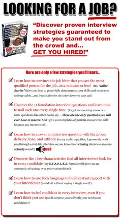 Job Interview Questions And Answers | Killer Interview Secrets | Employment  U0026 Jobs : Job Listings | Pinterest | Job Interviews And Job Info