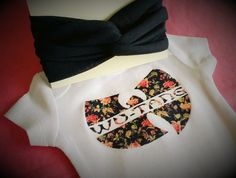 Cute Onesie - Headband/ Headwrap WUTANG Floral Baby Onesie with matching Navy baby by iloveco